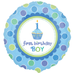 "18"" Sweet Little Cupcake Boy Foil Balloon"